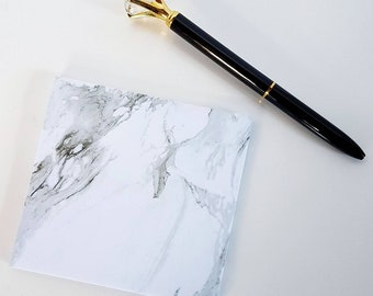 Marble Black and White Sticky Note Pad
