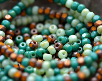 New Horizons - Premium Czech Glass Beads, Light, Dark Opaque Turquoise, Mustard, Picasso Finish, Trica Cut Mix 4x3mm - Pc 50
