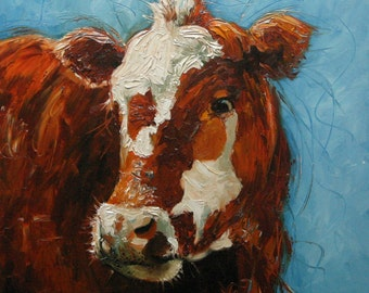 cow68 16x20inch Print of oil painting by Roz