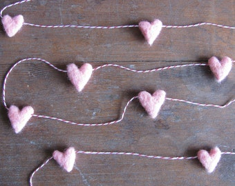 Felted wool heart garland, Light Pink, on red striped baker's twine, 6ft, Valentine's Day decor, baby girl room, pink baby shower garland