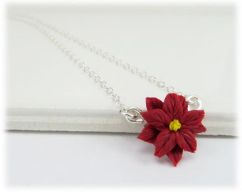 Tiny Poinsettia Necklace - Poinsettia Jewelry Silver Gold or Antique Brass, December Flower Charm
