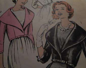 Vintage 1950's Advance 9015 Jacket Sewing Pattern, Size 12 Bust 32