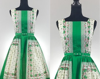 Summer in Europe Vintage Day Dress, Kelly Green, VLV Dress, Vintage Cotton Dress, Novelty Print Dress, Vintage Summer Dress, Rockabilly Dres
