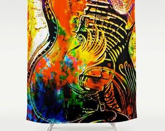 Shower Curtain Red Guitar Texas Music Art