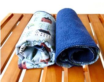 Large burp cloth set of 2 organic cotton fleece holiday gift idea