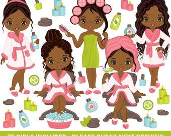 75 Spa Girls Clipart - Vector Spa Girl, Spa Party Clipart, Spa Clipart, African American Clipart, Beauty Clipart, Spa Girl Clip Art