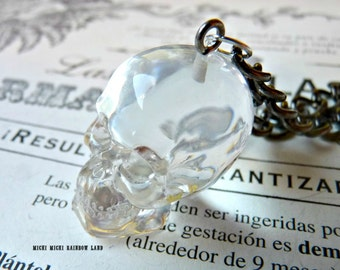 3D Glass Skull Necklace or Earrings - Gift box included