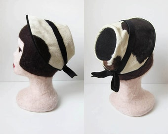 1940s vintage suede fur chocolate brown cream ivory white cow spot leather grosgrain ribbon hat
