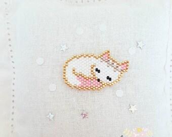 Broche renarde en perles Miyuki  - blanche