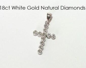 18ct 750 White Gold Natural Round Brilliant Cut Diamond Crucifix Cross Pendant