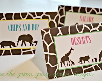 Safari Party Table Food Signs