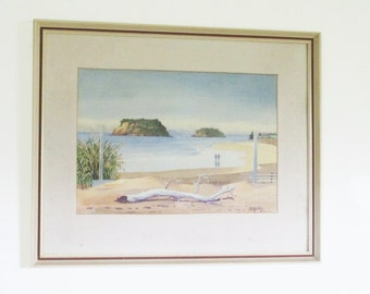 Herbert Money Whangamata Beach New Zealand Framed Watercolor