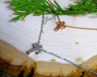 Rose & Silver Double Layer Cross Pendant Stainless Steel Necklace