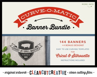 svg CURVE-O-MATIC Banner Bundle svg Curved Text Banners svg Banner Toolkit for Cricut & Silhouette svg Bonus Bundle - commercial use cutfile