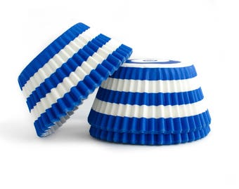 Blue Striped Cupcake Liners // Blue Baking Cups (Qty 50)