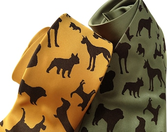 "Dog tie. ""Putting on the Dog."" Mens silkscreened necktie. Choose standard or narrow width. Vegan safe microfiber."