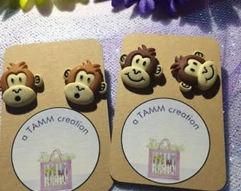 Monkey Earrings - Tan or Chocolate Color Options