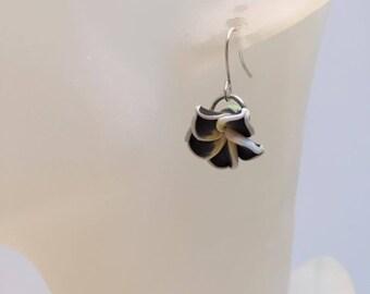 Black polymer clay Flower Earrings