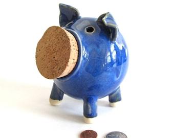 Ceramic Piggy Bank, Pottery Piggy Bank, Handmade Piggy Bank, Blue Piggy Bank, Pottery Coin Bank, Ceramic Coin Bank, Ceramic Pig, Pottery