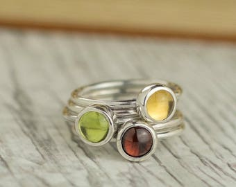 Stacking Rings | Garnet Ring | Peridot Ring | Citrine ring | Silver Stacking Ring | Sterling Silver Stacking Ring | Autumn Stacking Rings