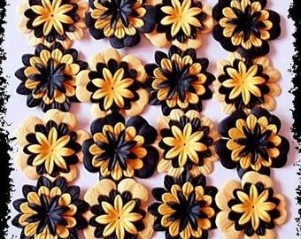 LOT 25 BLACK SCRAP SCRAPBOOKING YELLOW MULBERRY PAPER FLOWERS CARD
