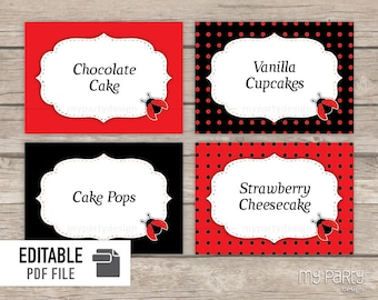 Ladybug Party - Food Labels - Place Cards - INSTANT DOWNLOAD - Printable PDF with Editable Text