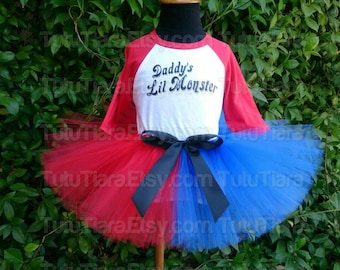 """Girls Harley Quinn Suicide Squad Tutu Costume Set Daddy's Lil Monster Red 3/4 Sleeved Raglan Shirt & Red and Blue 8"""" Economy Tutu Skirt"""