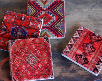 Drink Coasters, Stone Coasters, Kilim, Coaster Set, Gift for Her, Housewarming Gift, Gift Under 50, Unique Gift, Handmade Coasters