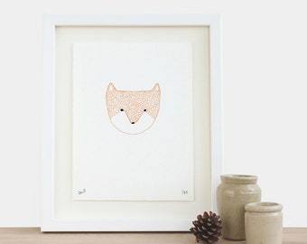 Fox Head Print - limited edition orange black white face modern new baby valentines day birthday gift idea