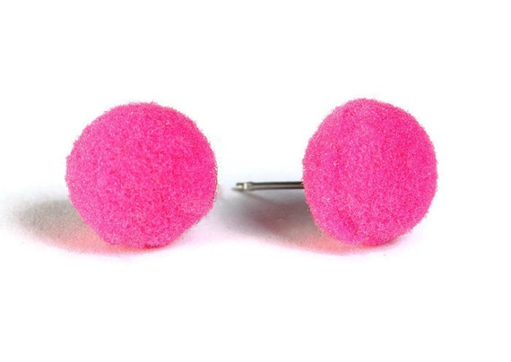 Hot pink pompom pom pom hypoallergenic surgical steel post earrings (659)