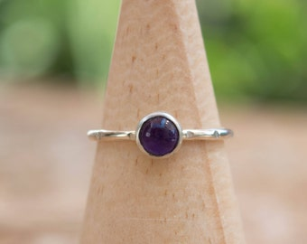 Amethyst silver ring, Sterling silver ring, Stacking silver ring, Midi ring, Simple sterling silver ring, Amethyst jewelry, Gemstone ring