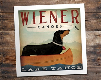 CUSTOM Dachshund Wiener Dog Canoes Graphic Art Print Signed Fowler Native Vermont