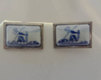 Vintage DELFT Porcelain & Sterling Cuff Links
