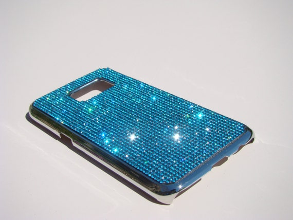 Samsung Galaxy S7 Case Aquamarine Blue Rhinestone, Silver Chrome Case. Velvet/Silk Pouch Bag Included, Genuine Rangsee Crystal Cases.