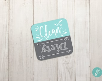 Clean Dirty Dishwasher Magnet Reversible, Magnet Dishwasher Sign, Dishwasher Clean Dirty Magnet, 4x4, Farmhouse Kitchen Decor, Magnetic Sign