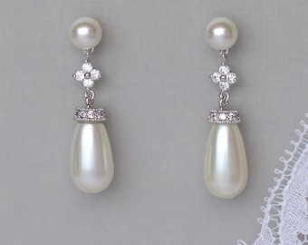 Pearl Bridal Earrings, Wedding Earrings, Pearl Drop Earrings, Pearl Stud Bridal Earrings,