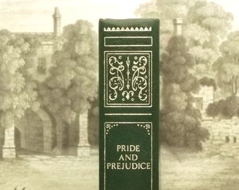 Jane Austen book Pride and Prejudice bound in green faux leather
