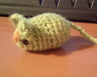 Little Mouse, Hand Knitted, Green Toy Mouse, Stuffed Mouse