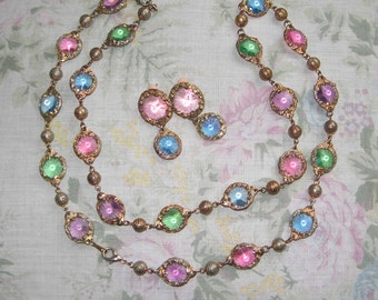 Vintage Pastel Faceted Glass Necklace and Earring Set
