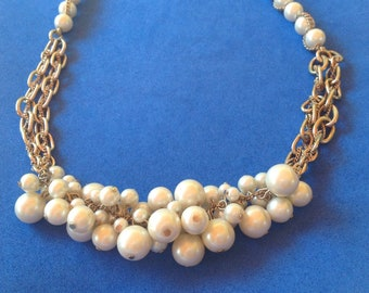 "Faux pearl cluster gold tone choker necklace - signed ""ABS""."