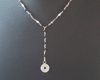 """19"""" Onyx Garnet Freshwater Pearl Necklace 