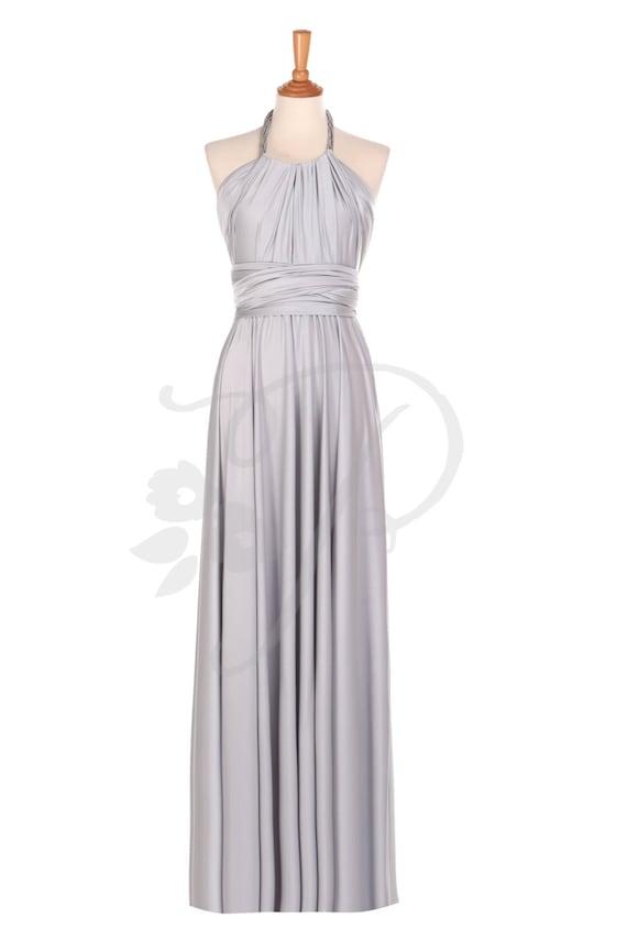 Bridesmaid Dress Light Grey / Silver Maxi Floor Length