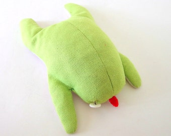 Vintage 1960's Handmade Green Frog Stuffed Animal Plushie