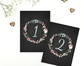 Rustic Floral Wreath Chalkboard Wedding Table Numbers/Names