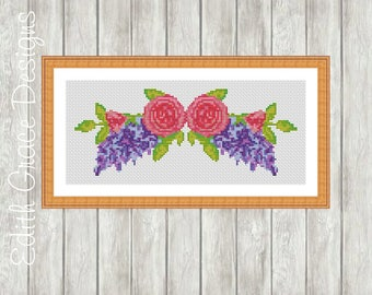Cross Stitch Pattern Flower Bouquet - Modern Cross Stitch Pattern - Floral - Counted Cross Stitch Chart - Embroidery Design - Shabby Chic