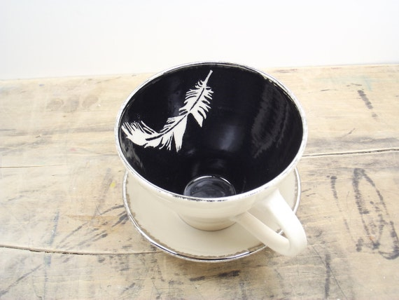 SALE White Feather, Black and Silver Porcelain Large Tea Cup & Saucer