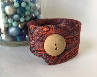 Necktie Cuff Bracelet Birthday Gift Artist Musician Jewelry Retro Fabric Bracelet Orange Paisley Funky Fashion Button Mother Sister Present