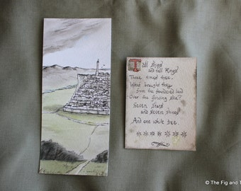 Bookmarks - Set of Two Handillustrated Literary Quotes Original Art Gift