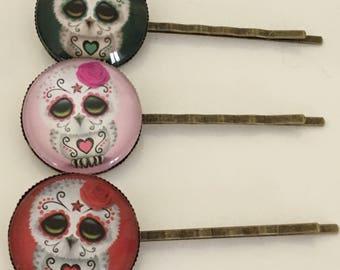 Sugar Skull Owl Bobby Pin, Owl Bobby Pin, Kawaii Bobby Pin, Sugar Skull