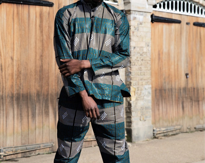 Featured listing image: Ankara Suit African Print Suit African T-Shirt Wax Print Trousers African Clothing Mens Two Piece Festival Suit Festival Clothing Colourful